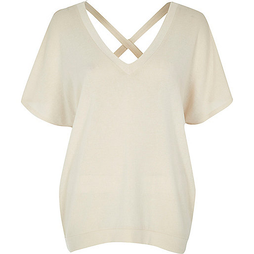 Cream knit cross back jumper