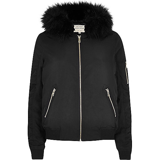 Black faux fur hooded bomber jacket