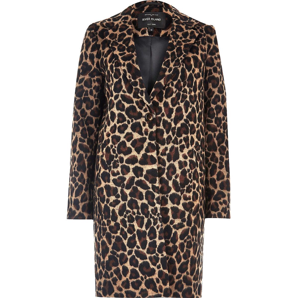 Brown leopard print overcoat