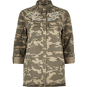 Brown camo embroidered shacket