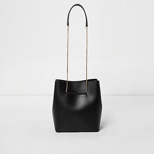 Black leather chain strap bucket bag