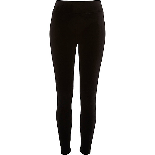 Black velvet high rise leggings