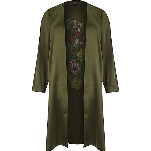 Plus khaki green embroidered duster