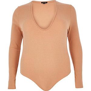 RI Plus nude ribbed plunge bodysuit