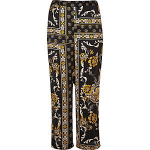 RI Plus black print soft woven pants