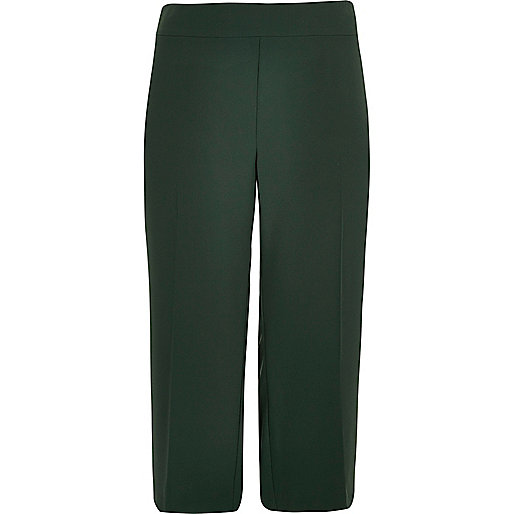 Plus green soft cropped trousers