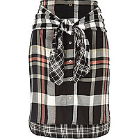 Black check tied waist midi skirt
