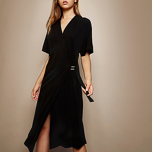 RI Studio black wrap dress