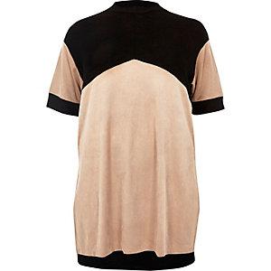 Plus blush pink colour block tunic