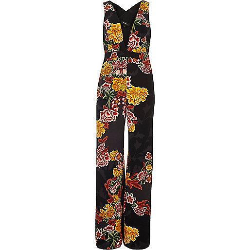 Black floral print plunge jumpsuit