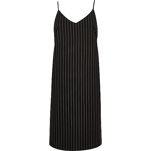 Navy pinstripe cami dress
