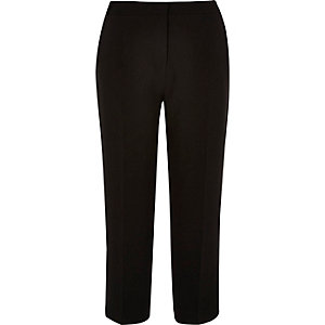 Black soft tailored cropped trousers