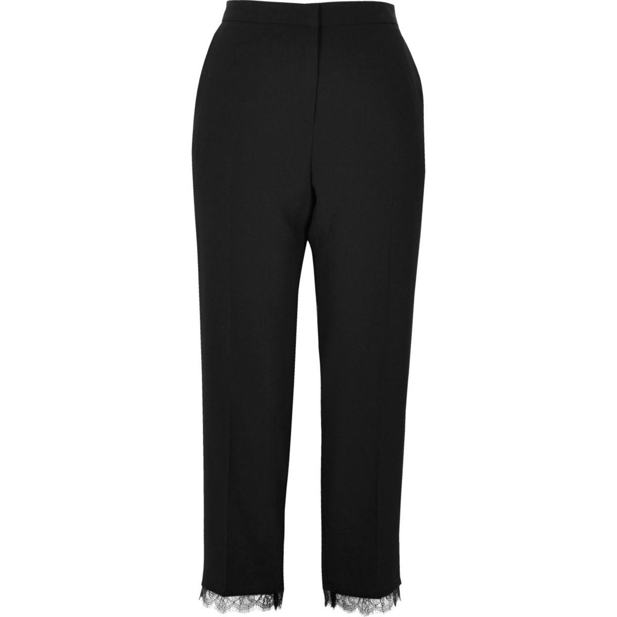 Black lace hem tailored pants