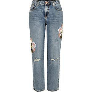 Light wash embroidered cigarette jeans