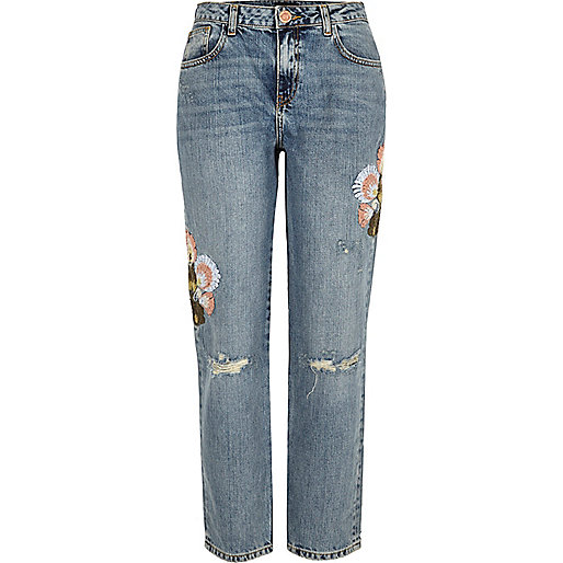 Light wash embroidered cigarette jeans