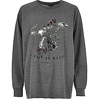 Sweat Plus gris motif dinosaure à sequins