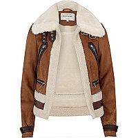 Manteau aviateur en suédine marron à peau de mouton