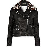 Black leopard print trim biker jacket