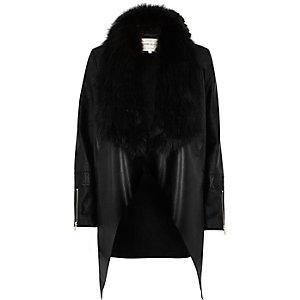 Black faux fur trim waterfall jacket