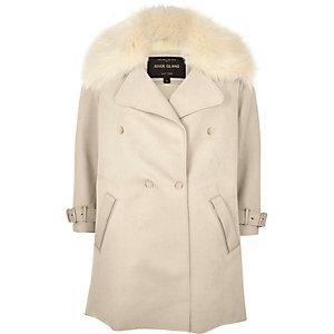 Cream faux fur trim double-breasted coat