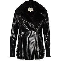 Black patent leather look aviator coat