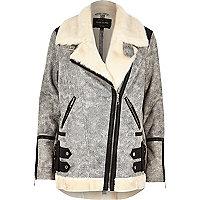 Manteau aviateur en cuir synthétique texturé gris
