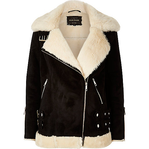 Black shearling aviator jacket