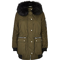 Khaki green hooded parka coat