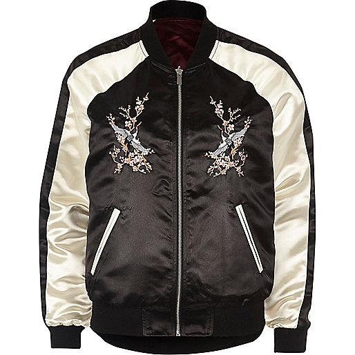 Black satin embroidered reversible bomber