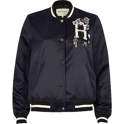 Navy slogan embroidered bomber jacket