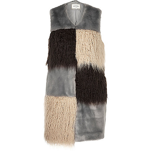 Grey faux fur patchwork gilet