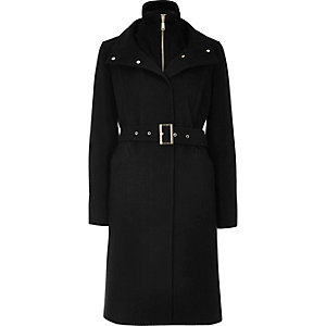 Black double layered belted coat