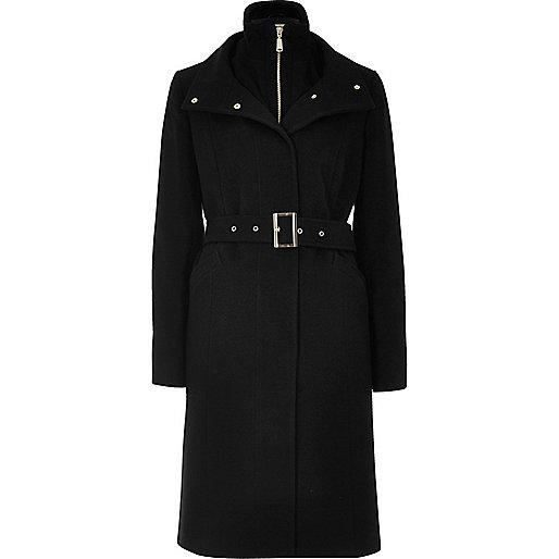Manteau à superposition noir avec ceinture