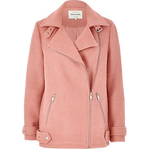 Pink wool blend aviator coat