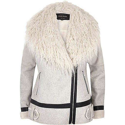 Light grey Mongolian faux fur aviator coat