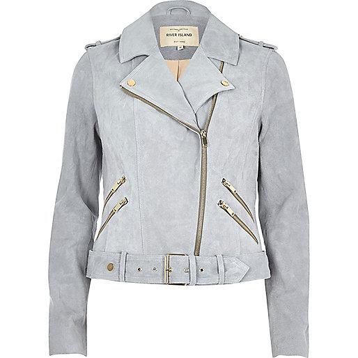 Light blue suede biker jacket