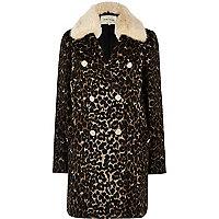 Brown leopard print faux fur trim overcoat