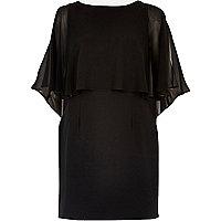 Zwarte chiffon mini-jurk met cape