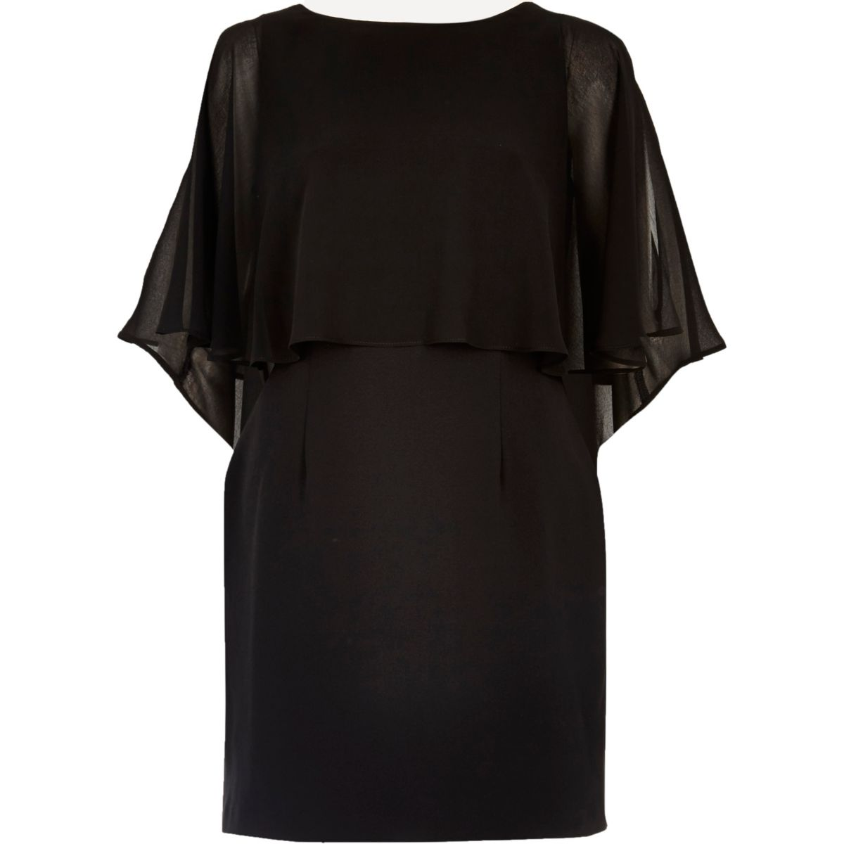 Schwarzes Minikleid mit Chiffonumhang