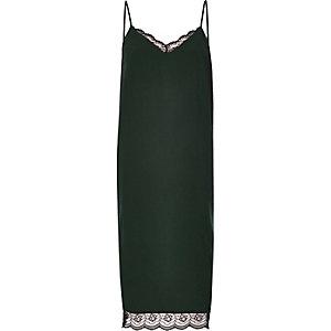 Dark green lace midi slip dress