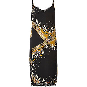 Black print lace midi slip dress