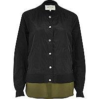 Blouson aviateur noir avec détail style chemise