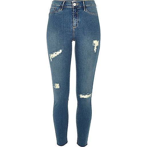 Molly - Blauwe mid wash ripped jegging