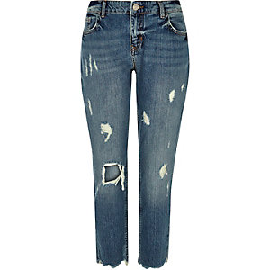 Authentic blue wash ripped slim fit jeans