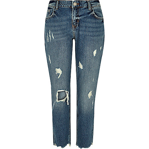 Authentieke blue wash ripped slim-fit jeans