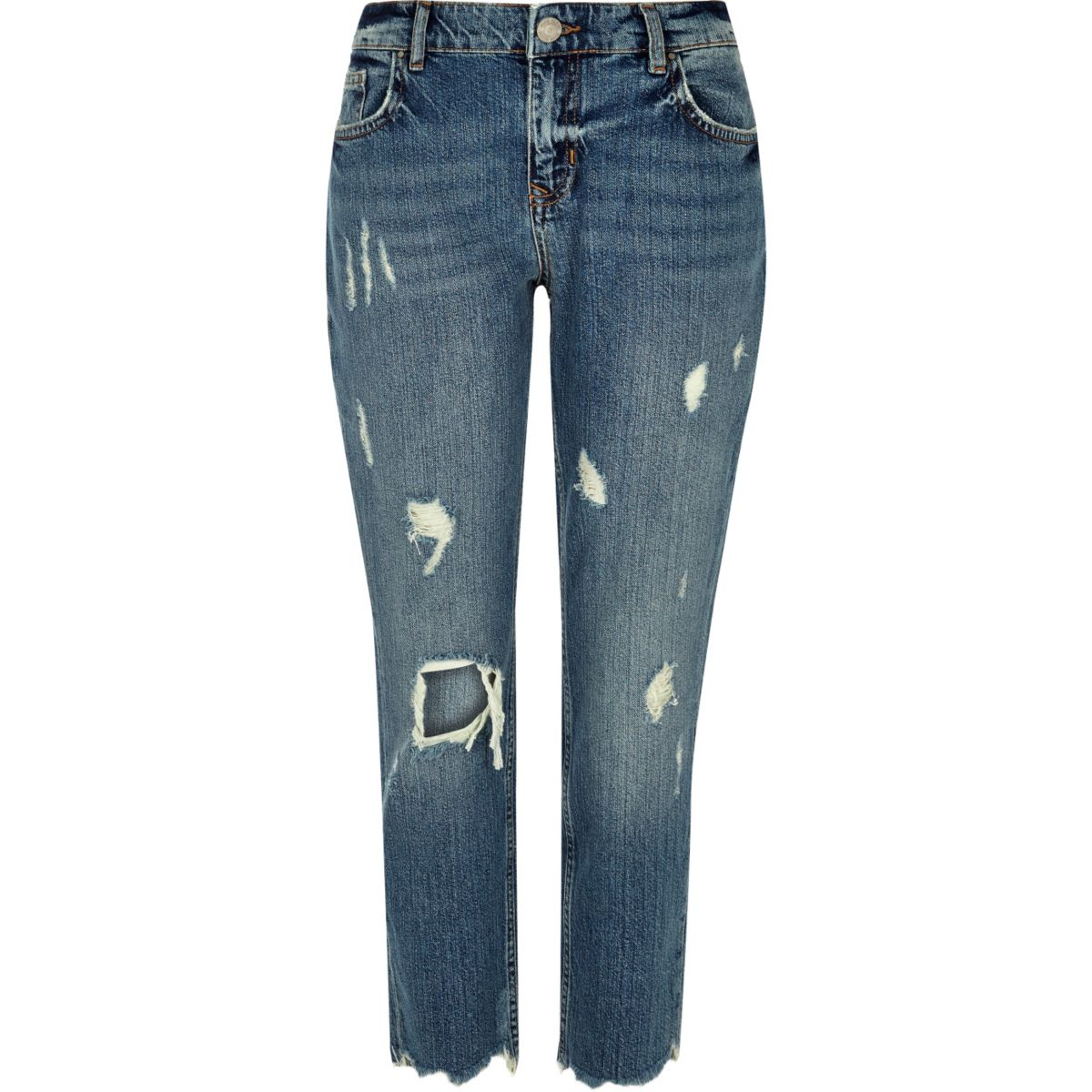 Slim-Fit-Jeans im Used-Look in Authentic Blue