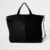 Schwarze Tote Bag aus Leder mit Wildlederbahn
