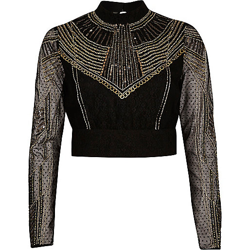 Goldenes, verziertes Crop Top