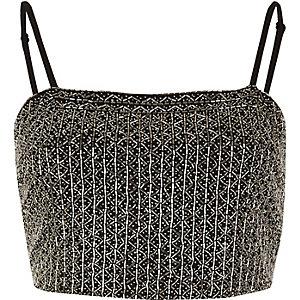 Black embellished cami crop top