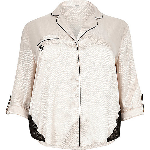 Plus cream lace detail pajama shirt